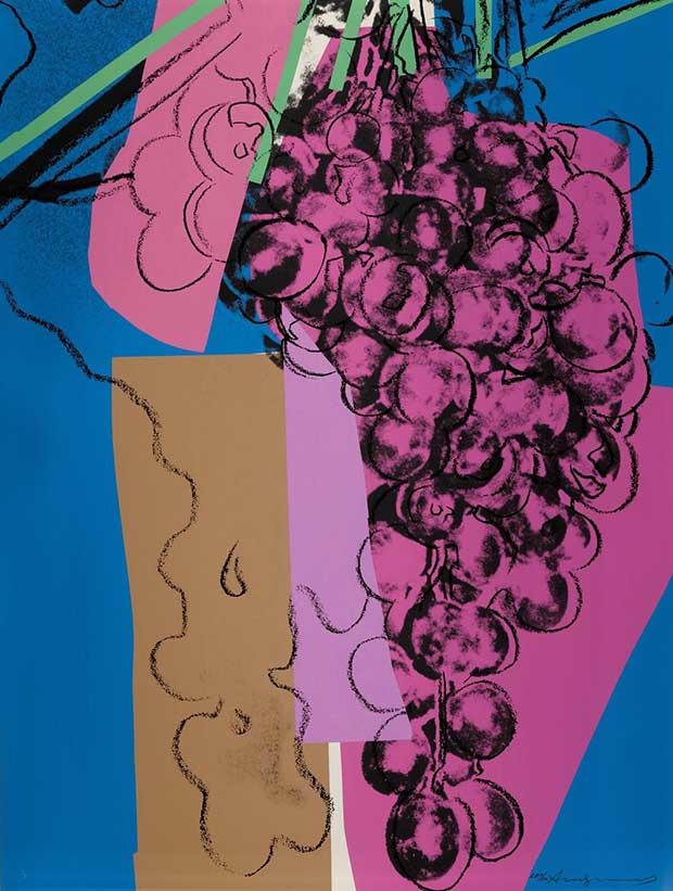 Ventes en ligne Sotheby's : Andy Warhol, Grapes, 1979. Estimation : $120/180,000