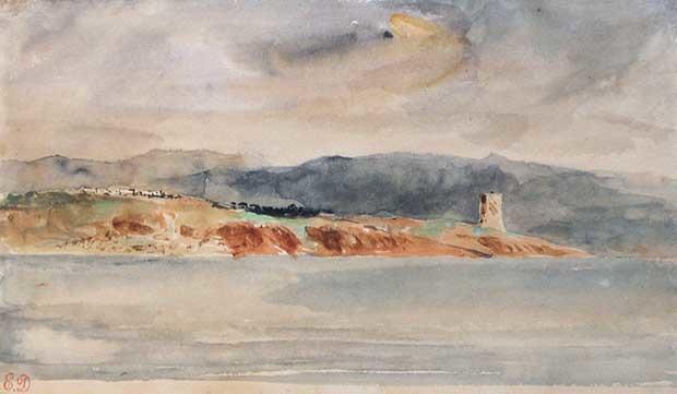 Eugène Delacroix, Paysage marocain, aquarelle gouachée, 14,5 x 24 cm, proposé à la vente par la galerie De Bayser. Estimation : 150 000€