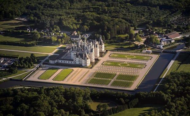 Vue aérienne des jardins de Chambord. Photo Domaine national de Chambord ©Léonard de Serres