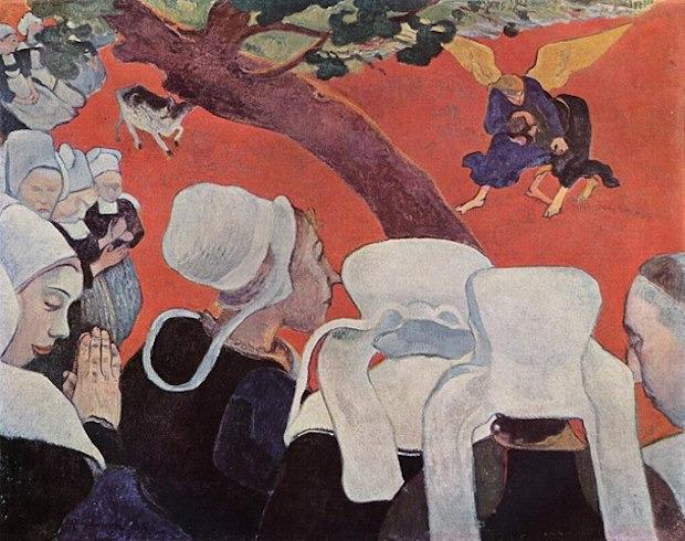 Paul Gauguin, La Vision après le sermon, dit aussi La Lutte de Jacob avec l'Ange, 1888, huile sur toile, 72,2 x 91 cm, Édimbourg, Scottish National Gallery.