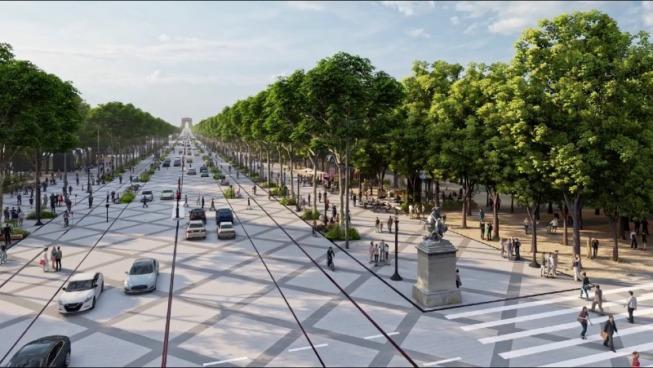 Simulation du projet de réaménagement des Champs-Élysées à Paris soutenu par le Comité Champs-Élysées ©Capture d'écran/PCA-STREAM